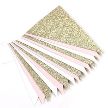 10ft Gold Pink and White Banner Bunting Pennant Garland for Baby Shower Bridal Shower First Birthday Party Decor Photo Backdrop(China)