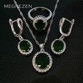 Casamento turco Conjunto Verde Anéis de Cristal Strass Colar Brincos Conjuntos de Jóias de Prata Com Pedras Para As Mulheres Rubi Ys003-4 Joya