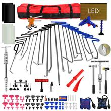 pdr rods hook tools paintless dent repair car dent repair dent removal led lamp dent puller lifter glue gun tap down tool PDR Tools 21pcs PDR Rods Dent Puller Slide Hammer Dent Lifter Glue Gun Tap Down Pdr Light Reflect Board Auto Dent Repair Kit