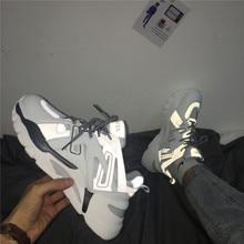 Ins baskets réfléchissantes à la mode pour hommes, chaussures de papa pour lété, chaussures décontractées respirantes
