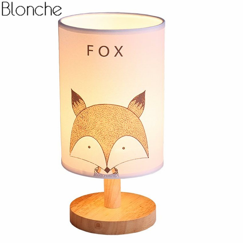 Modern Animal Led Desk Lamp Wood Base Table Light Fabric Lampshade Lamps for Children's Room Study Reading Light Fixtures Decor