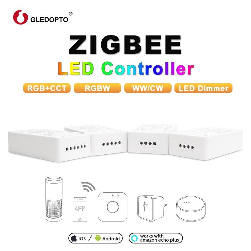 GLEDOPTO ZIGBEE Led Controller RGB+CCT WW/CW zigbee controller LED DC12-24V LED strip controller zll app controller RGBW rgb 3.0