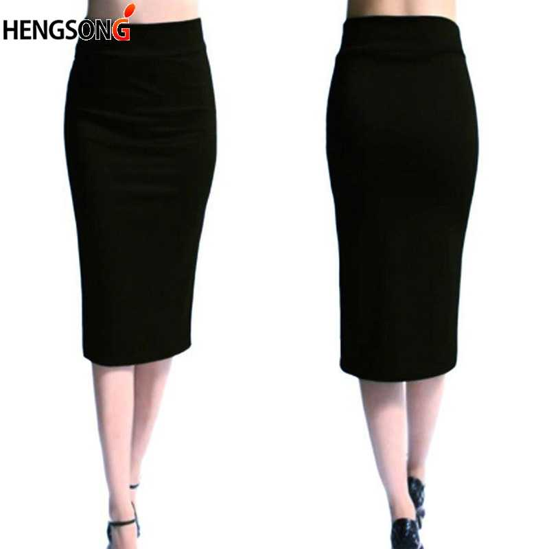 New Ladies Office Stretch Bodycon Midi Skirt Women Pencil Skirt Female High Waist Mid-Calf Skirt Slim Puls Size XL