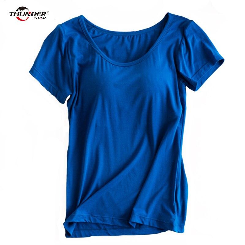 Modal Gebaut in Padded Bh T-shirt frauen Kurzarm Atmungsaktive Kleidung Weiblichen Bodenbildung T-shirt Tops Casual Dame Top tees