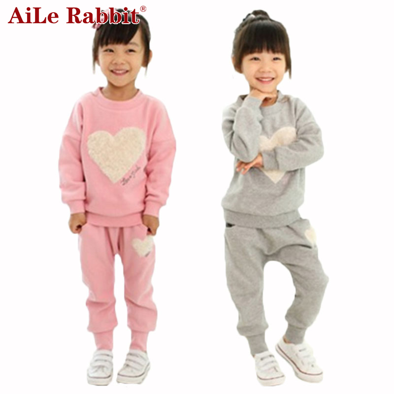 AiLe Rabbit 2017 Hot Sale Girls suits t-shirt + pants suit pink love heart-shaped gray Kids clothes Leisure sports suit i love you love heart shaped keychain red