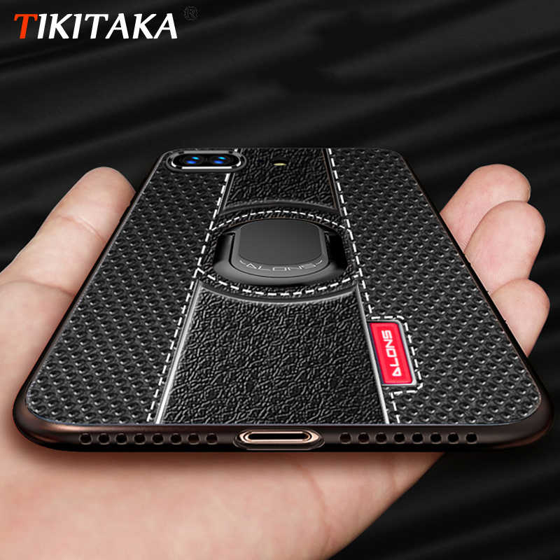 For iPhone XS Max case Car Holder Stand Magnetic Suction Bracket Finger Ring Soft TPU Cover For iPhone 6S 7 8 Plus X XR XS Max