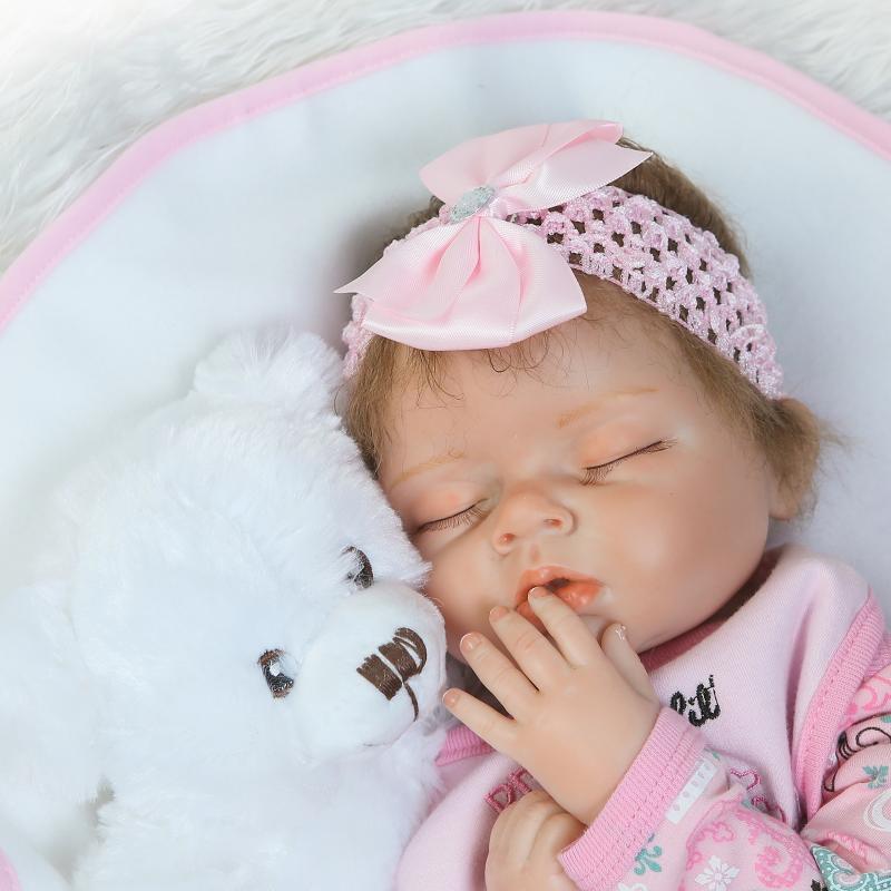 55cm Mjuk Silikon Reborn Sova Baby Doll Livlig Nyfödd Alive - Dockor och tillbehör - Foto 2