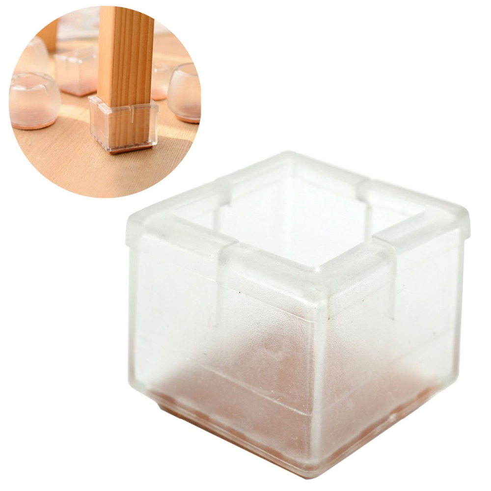 4pcs Square Table Chair Leg Foot Protector Furniture Base Cap Cover Pad Antiskid Floor Protection Silencer NO.16 HT