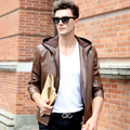 Autumn new arrival 2017 male sheepskin leather clothing men's clothing business casual hooded top leather jacket outerwear