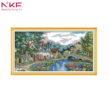 NKFThe peaceful countryside decor paintings counted printed on canvas DMC 14CT 11CT Cross Stitch Needlework Sets Embroidery kits