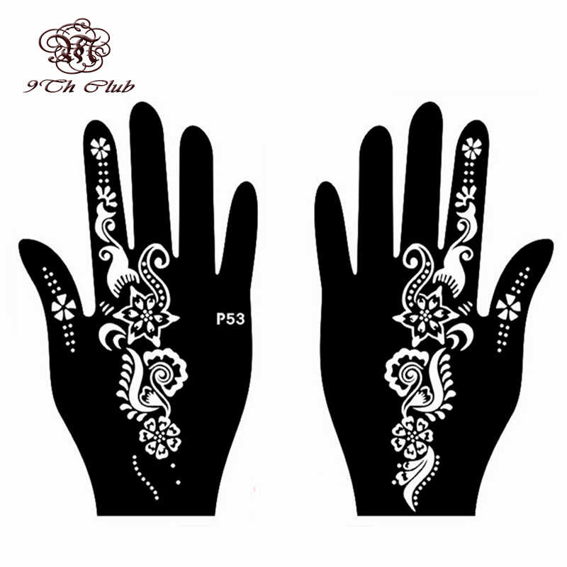 2 Pair Henna Tattoo Stencil Template,Left Right Large Hand Stencil Mehndi  Henna Glitter Airbrush Tattoo Stencils 20 * 12 cm