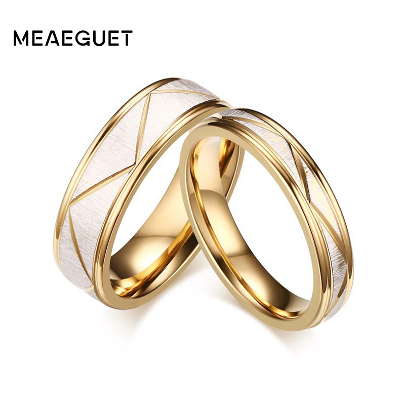 Wedding Ring Couples Matching Rings Lovers Gold Color Love Matte