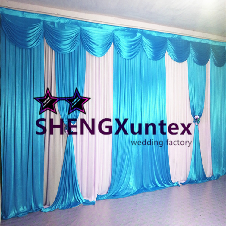 2019 10ft 20ft White And Turquoise Color Wedding Backdrop