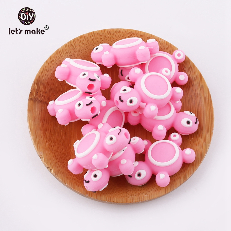 Lets Make Pink 6pcs Mini Tortoise Shaped BPA Free Silicone Beads Lovely Diy Necklace Accessories Cartoon Baby Teether
