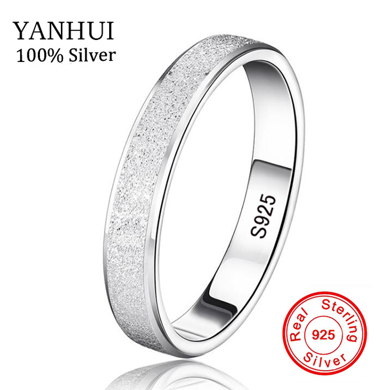 YANHUI 100% Natural Silver Rings for Men and Women Real 925 Sterling Silver Jewelry Unique Frosted Flakes Couple Finger Rings