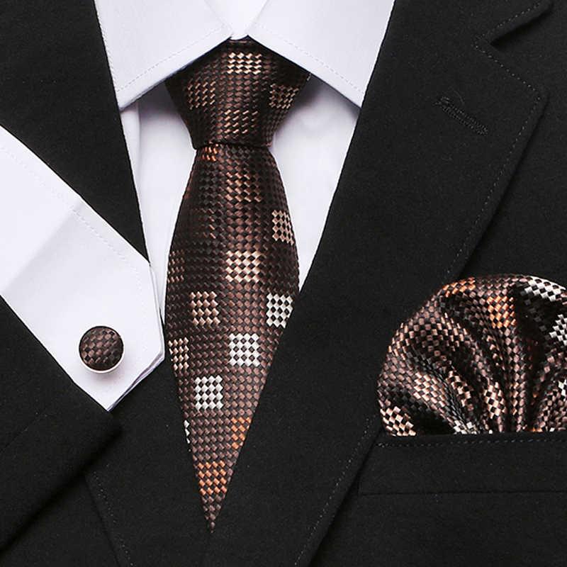 Cravatta di seta per gli uomini A Strisce Dot Plaid degli uomini di Seta Cravatte Per Gli Uomini Cravatte Suit Cravate di Lusso Homme Fazzoletto Fazzoletto gemelli