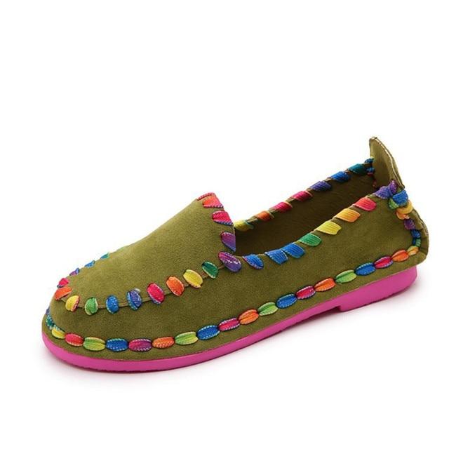 2d7bfef69d Mulheres Sapatos Baixos Primavera Outono Plano Rainbow Color Feminino  Mocassins Mulheres Apartamentos Casuais Mulheres Sapatos Escorregar