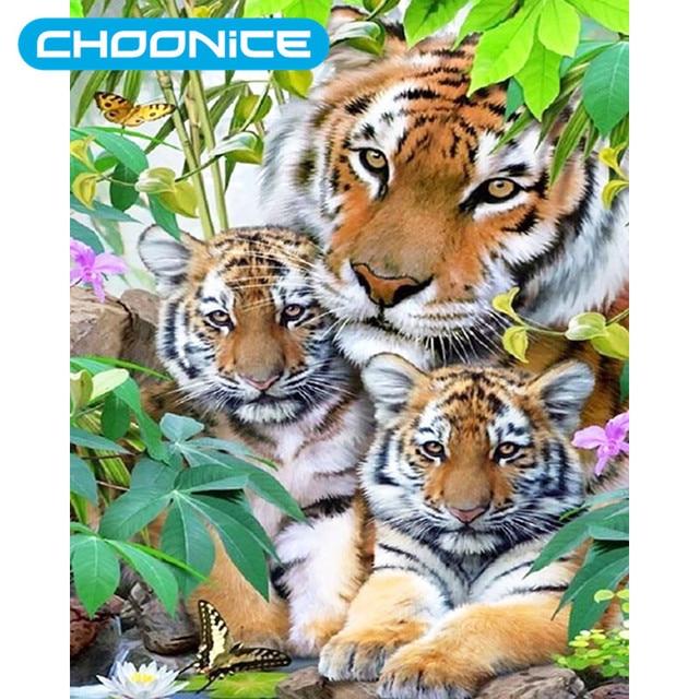 Berlian Lukisan Harimau Mewarnai Gambar Diy 3d Berlian Bordir Rumput