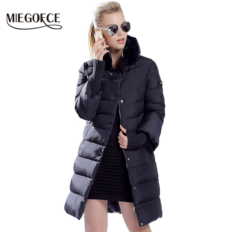 MIEGOFCE 2019 Winter Duck Down Jacket Women Long Coat Warm Parkas Thick Female Warm Clothes Rabbit Fur Collar High Quality