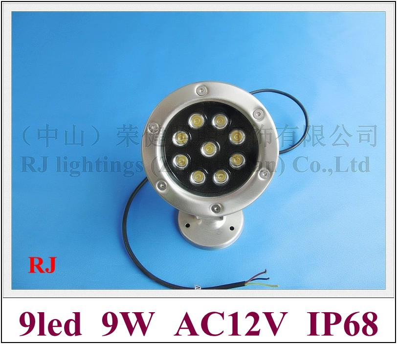 high power 9W LED underwater light lamp LED swimming pool light fountain light AC12V 9W IP68 free shipping high power led pool light free shipping ip68 fountain light 6w 24v ac led underwater light lpl b 6w 24v