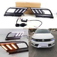 July King LED Daytime Running Lights Case for Volkswagen Jetta MK7 Sagitar 2016 18, LED DRL + Streamer Yellow Turn Signals Light