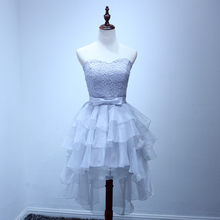 New Arrival Fashionable Three Styles Gray Short In Front Organza Tiered Lovely Bridesmaid Dress  NM 739