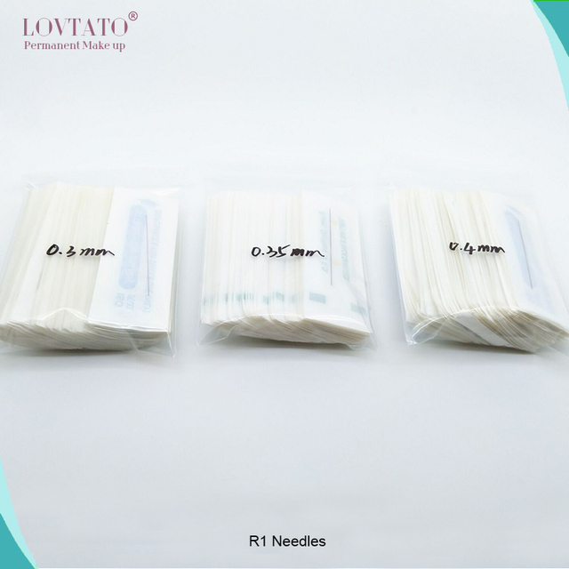 Disposable R1 tattoo needles 1R Single Round Needles For Eyebrow Eyeliner Lips Permanent Makeup machine0.3mm 0.35mm 0.4mm needle 5