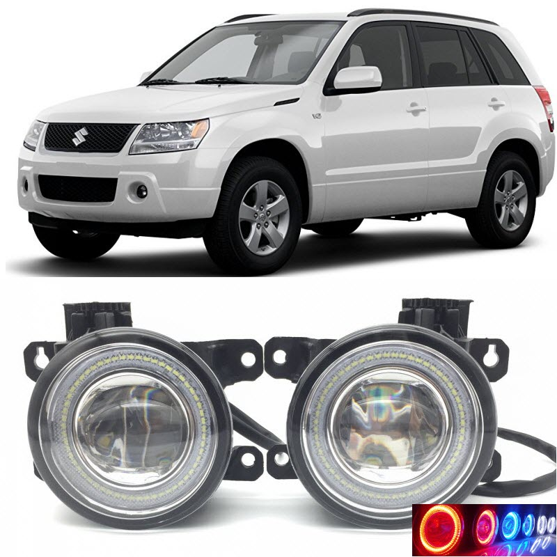 2 in 1 LED Angel Eyes DRL 3 Colors Daytime Running Lights Cut-Line Lens Fog Lamp for Suzuki Grand Vitara / Vitara Escudo 2005-12 eemrke led angel eyes drl for suzuki aerio liana 2005 2006 2007 fog lights daytime running lights h3 55w halogen cut line lens