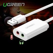 2016 Nouveau Ugreen USB 3.5mm Externe Audio Carte Son Micphone Écouteurs adaptateur Jack 3.5mm Casque pour Win XP/7 8 Android Linux