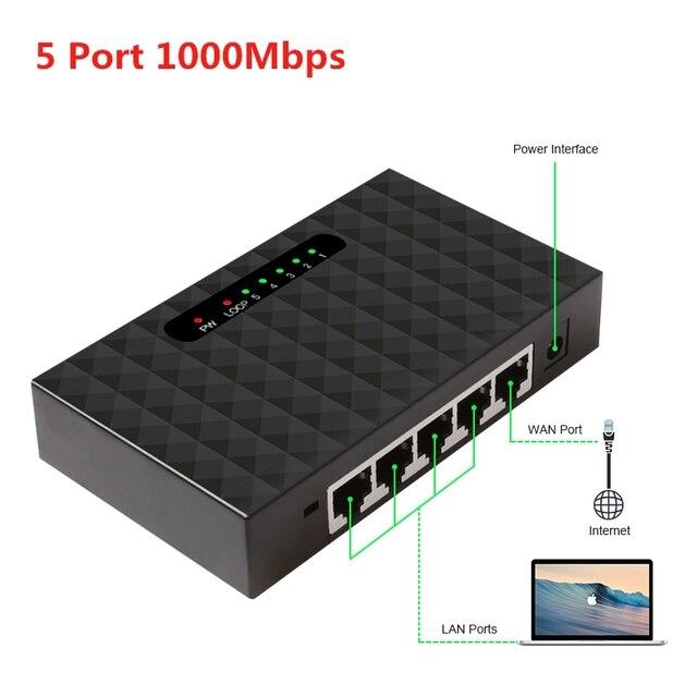 Ethernet Anahtarı 1000 mbps 5 Port Gigabit Ağ Switchler 10/100/1000 mbps LAN Hub Anahtarı Tam Yarım dubleks Değişim