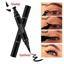 Brand Double-Headed Seal Black Eyeliner Liquid Pencil Quick Dry Waterproof Black 2-in-1 Makeup Stamps Wing Eye liner Stam юкка stam 14х65 см