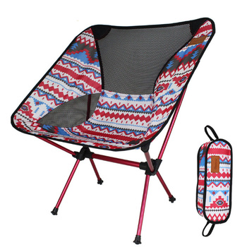 Beach Colorful Print Folding Chair Portable Ultra Light Picnic Stool Seat Aluminium Alloy Compact Travel Outdoor Camping BBQ