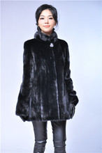 black short fashion woman stand collar natural fur mink coat