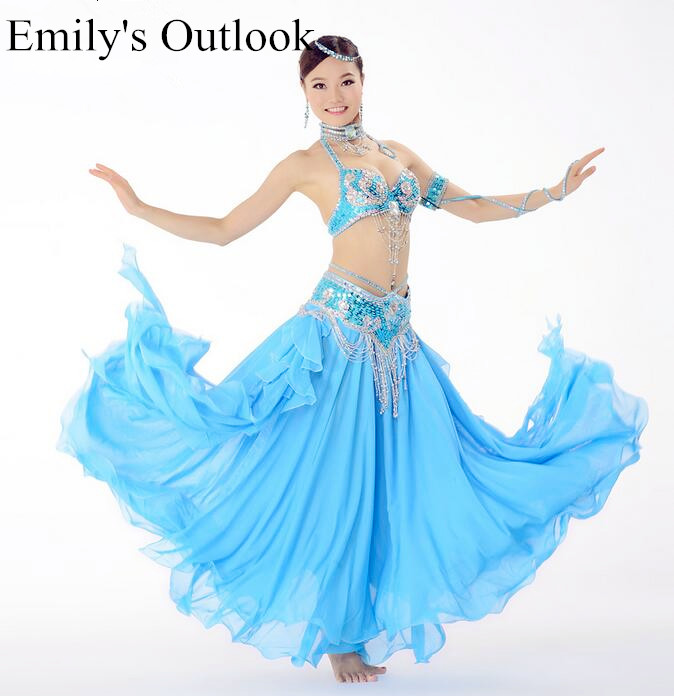 Indian Belly Dance Costumes Halter Bra Skirt Belt Handmade Beaded Show Arabic Princess Bollywood Girl Blue
