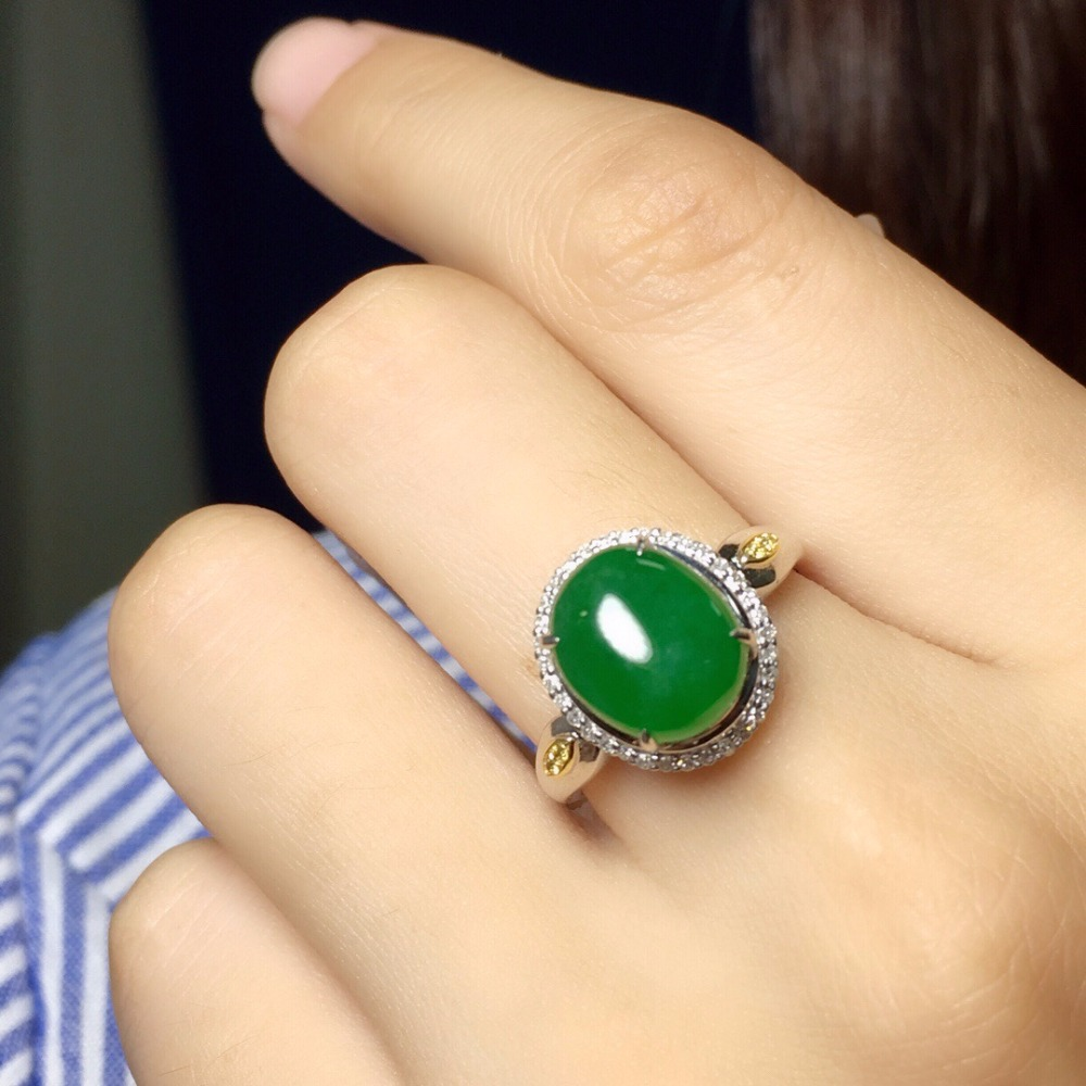 Fine Jewelry Collection Real 18K White Gold AU750 100% Natural Green Jadi Jade Gemstone round Rings Burma Origin for Women Gift цена