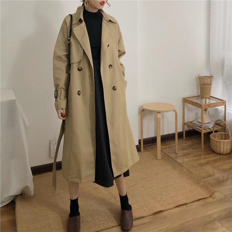 Spring And Autumn Women Fashion Brand Korea Style Waist Belt Loose Khaki Color Trench Female Casual Elegant Soft Long Coat Cloth 2