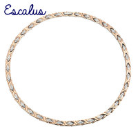 Escalus Women 96pcs Crystals Magnetic Stainless Steel Necklace Rose Gold Neckwear Charm Bio Jewelry 2017 Ladies