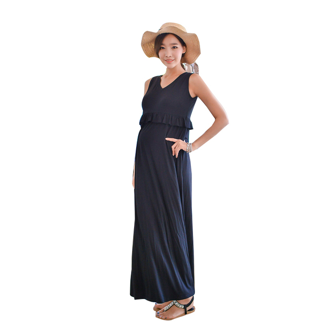 de4b1d7a42bae Summer Maxi Maternity Breastfeeding Nursing Dresses Pregnant Mother Lactate Clothes  Pregnancy Wear Breast Feeding Dress Clothing