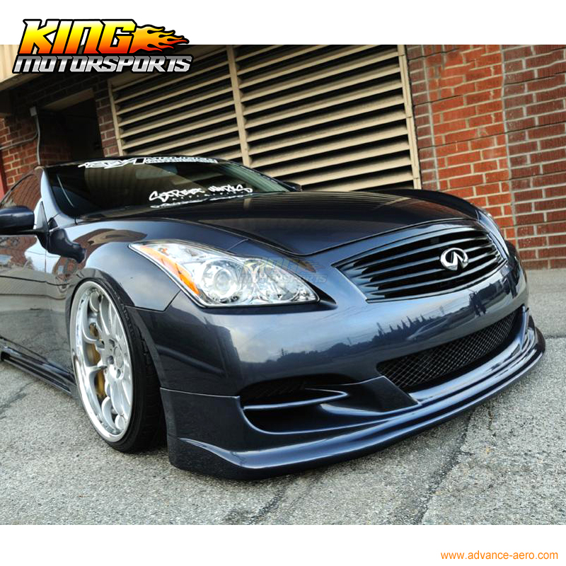 US $199 99 |Fits 2008 2014 Infiniti G37 2Dr Coupe Ts Style Front Bumper Lip  Chin Spoiler PU Unpainted Black-in Bumpers from Automobiles & Motorcycles