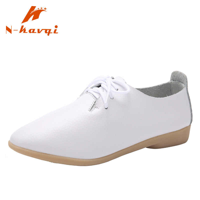 Zapatos de cuero genuino de primavera para mujer, zapatos planos de mujer con cordones, zapatos casuales para mujer
