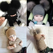 2019 New Warm Baby Hat Faux Fur Baby Cap Cotton Pompom For Kids Winter Boys And Girls Caps Artificial Fur Children's Hat недорого