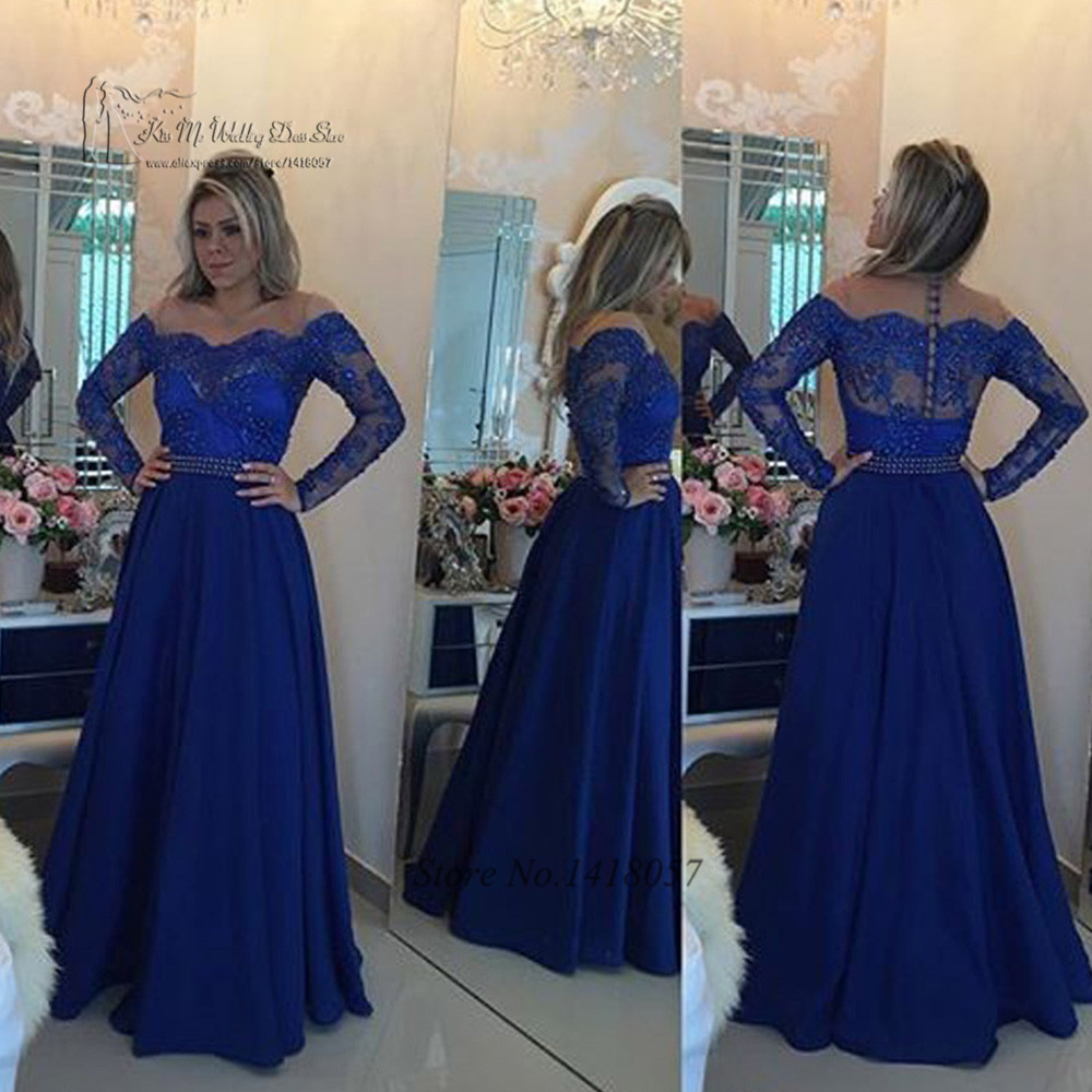 90bbcb037a3dd US $95.2 20% OFF|Vestido de Festa Royal Blue Hijab Long Sleeve Evening  Dress Lace Pearls Hot Sell 2017 Prom Dresses O Neck Muslim Evening Gowns-in  ...