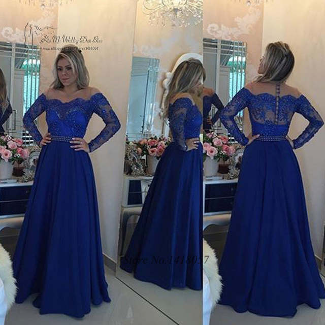 8002b861b575fd placeholder Vestido de Festa Royal Blue Hijab Long Sleeve Evening Dress  Lace Pearls Hot Sell 2017 Prom
