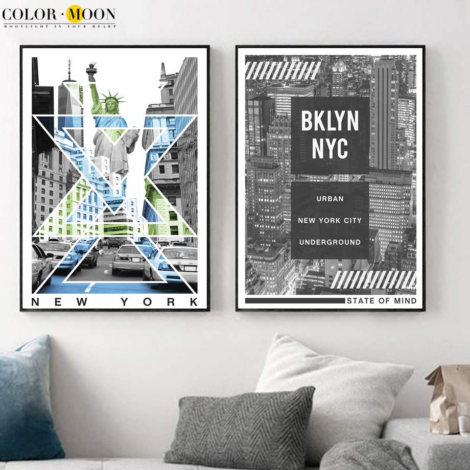 New York City Picture Canvas Painting Modern Wall Art: COLORMOON New York City Posters And Prints Wall Art Canvas