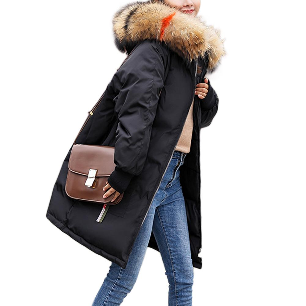 2018 New Women Winter Warm Coat   Parka   Cotton Padded Long Jacket Fashionable Plush Collar Hoodies Office Lady Cotton Plus Size