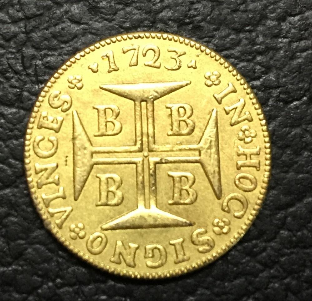 1723 БРАЗИЛИЯ 2000 Reis-Жоао V копия 22 К Золотая монета