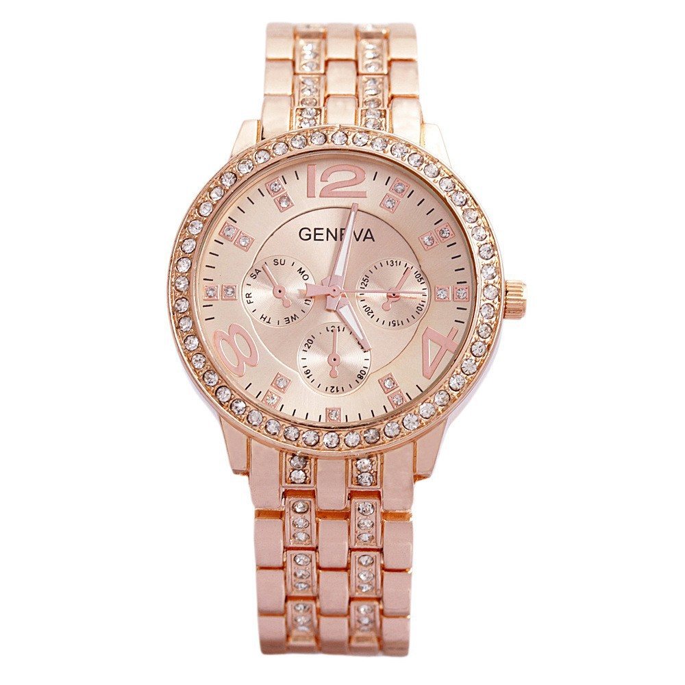 GENEVA Gold Men Women Watches  Quartz Watch Luxury Brand Hours Clock Stainless Steel Montre Femme Relogio Feminino Relojes