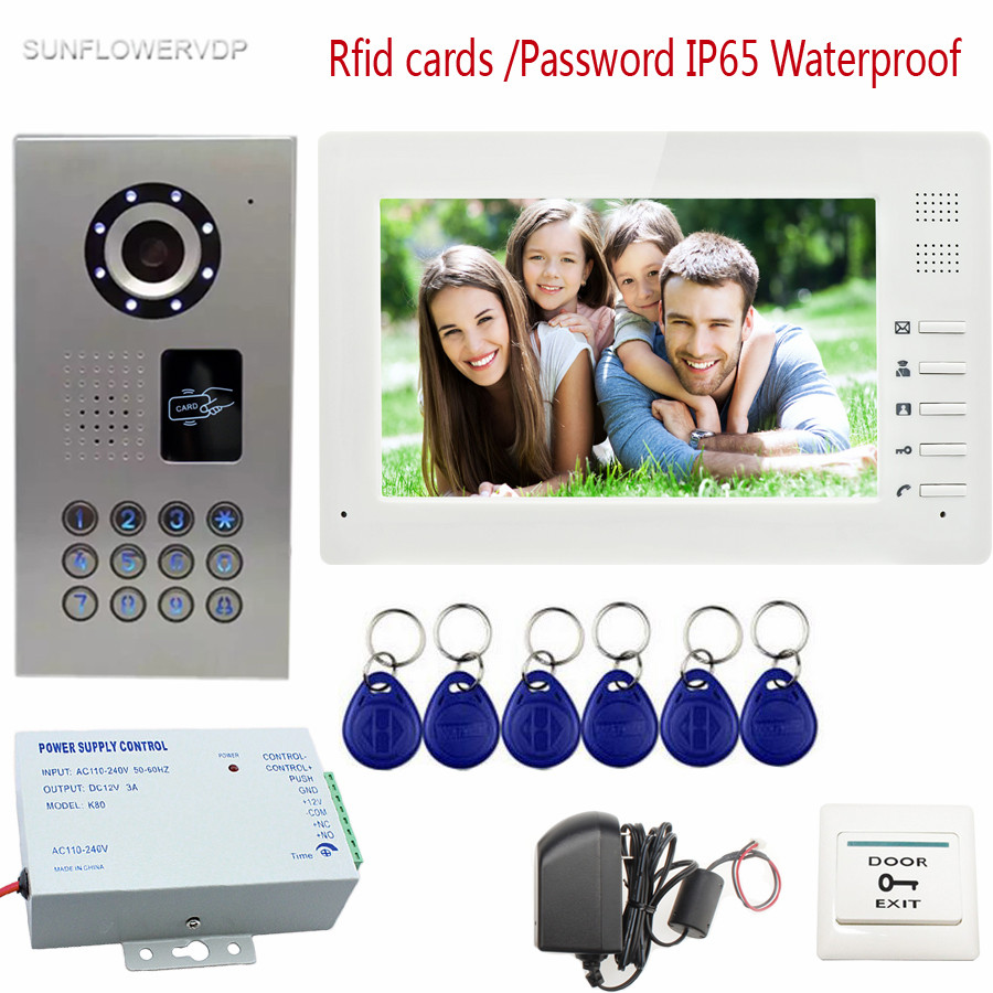 IP65 Waterproof Video Door Phone Intercom System 7 Color Screen + Access Control Rfid Keypad CCD Camera For Private Apartment