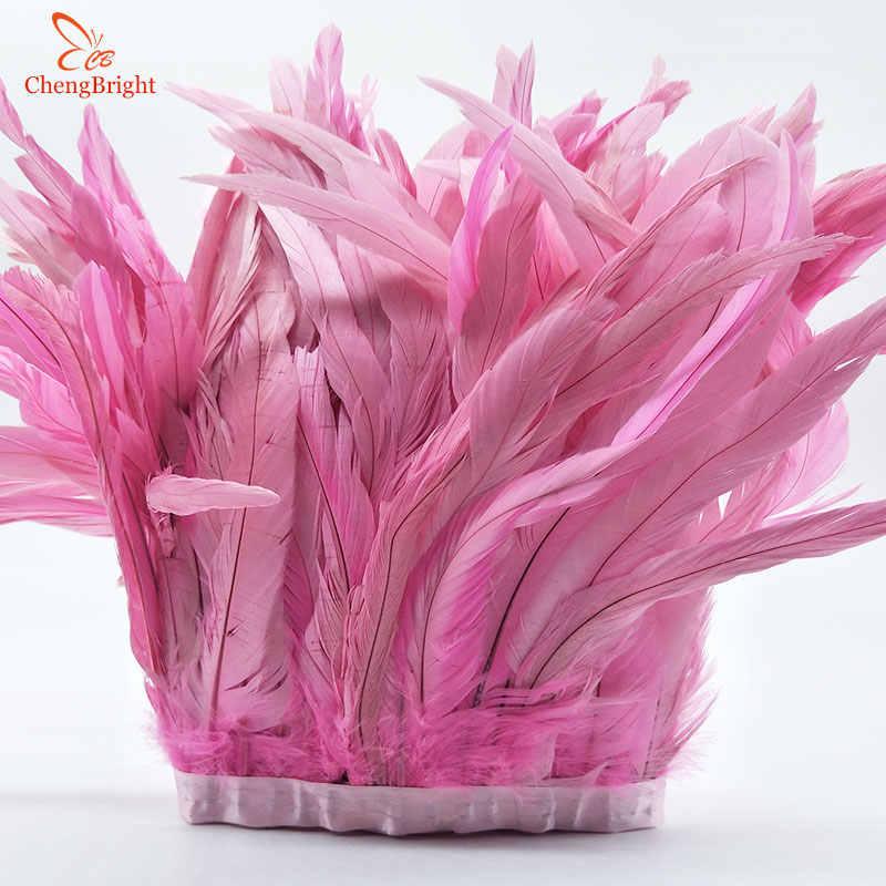 Chengvright 25-30 Cm Goud Haan Staart Trim Coque Veer Trimmen/Lint Voor Ambachten Jurk Rok Carnaval Kostuums pluimen