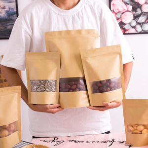 Image 3 - Wholesale Stand up Kraft Paper Frosted Window Zip Bags Doypack Sugar Biscuit Nuts Chocolate Coffee Self Sealing Packaging Bags